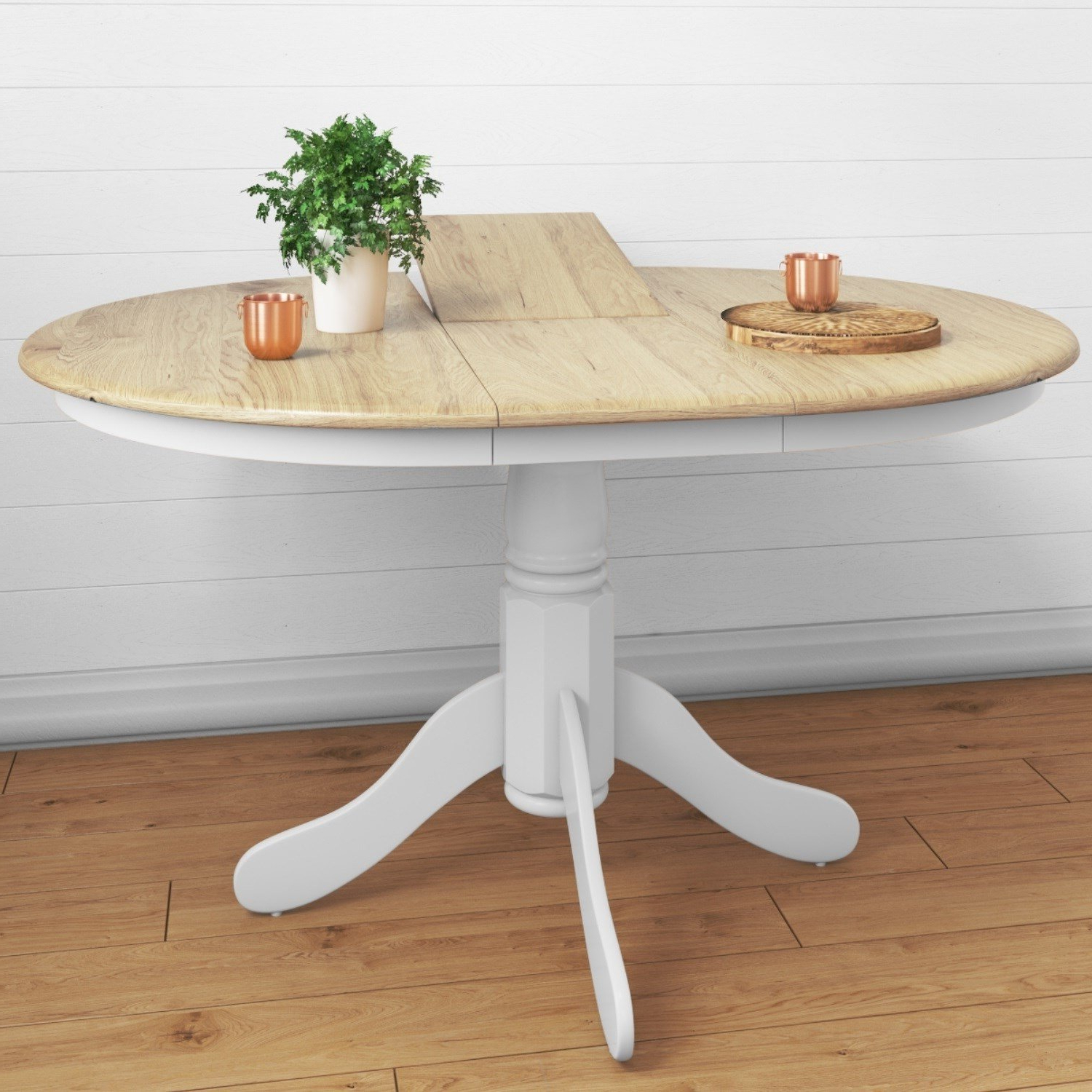 Most Popular Rhode Island Solid Wood Extendable Round 6 Seater Dining Intended For Solid Wood Circular Dining Tables White (Gallery 7 of 30)