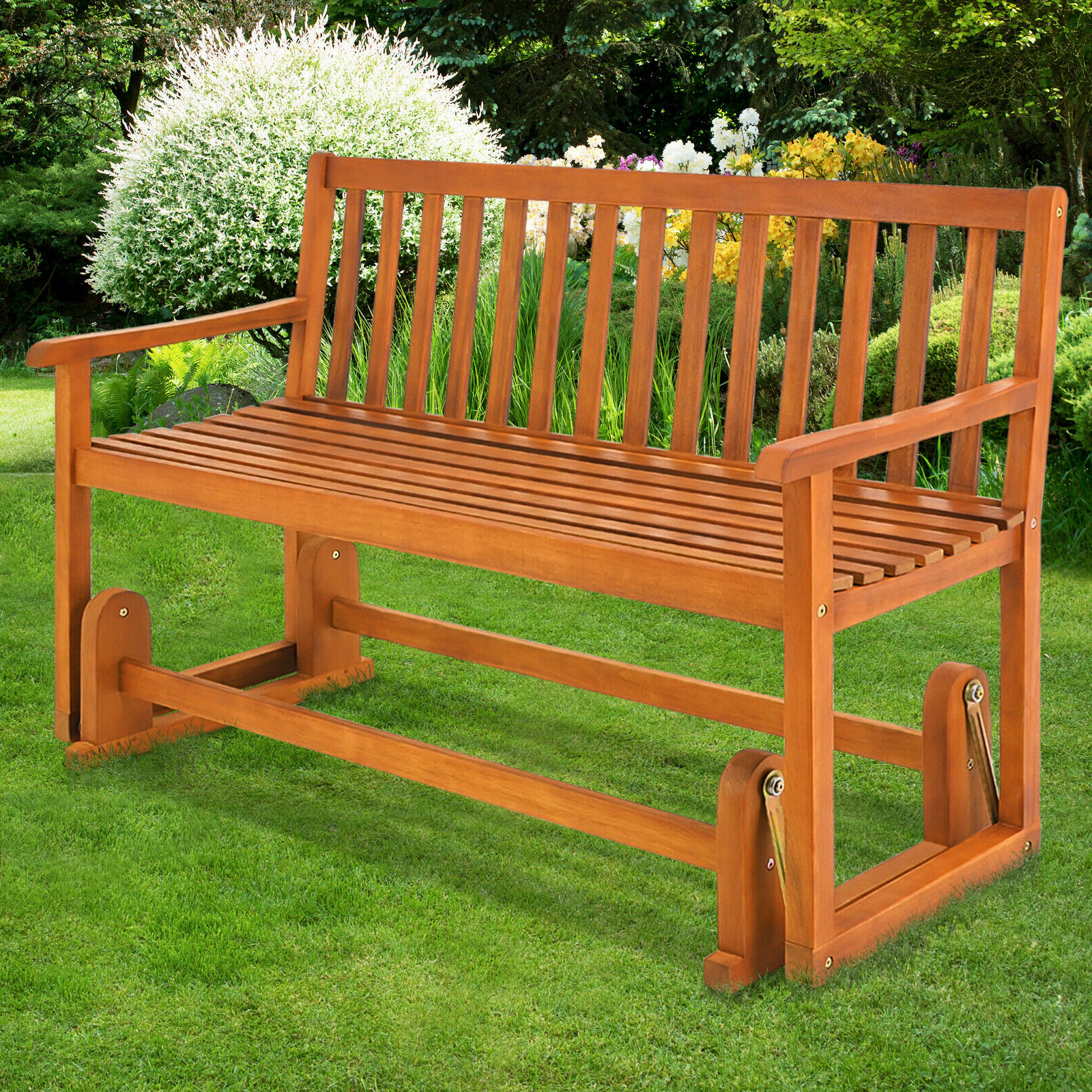 Most Popular Rocking Glider Benches Throughout Wooden Swinging Seater Bench Garden Outdoor Rocking Glider Benches Made Of (Gallery 16 of 30)
