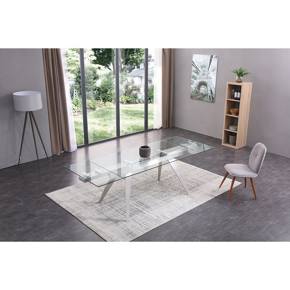 Most Popular Steel And Glass Rectangle Dining Tables Within China Modern Extension Rectangle Glass Steel Dining Table (Gallery 22 of 30)