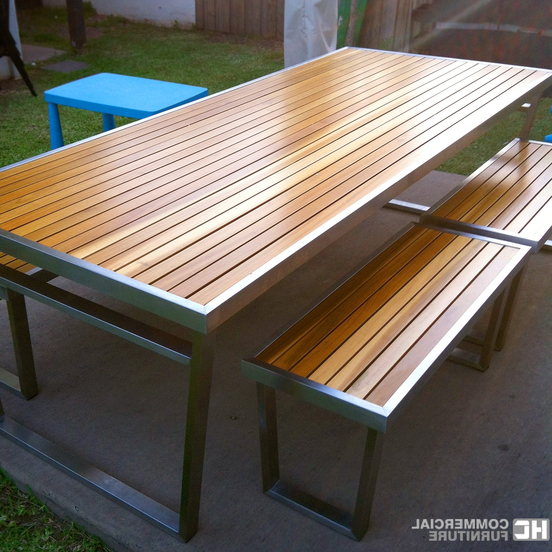 Most Popular Teakwood Stainless Steel Table Set Pertaining To Dining Tables With Brushed Stainless Steel Frame (Gallery 24 of 30)