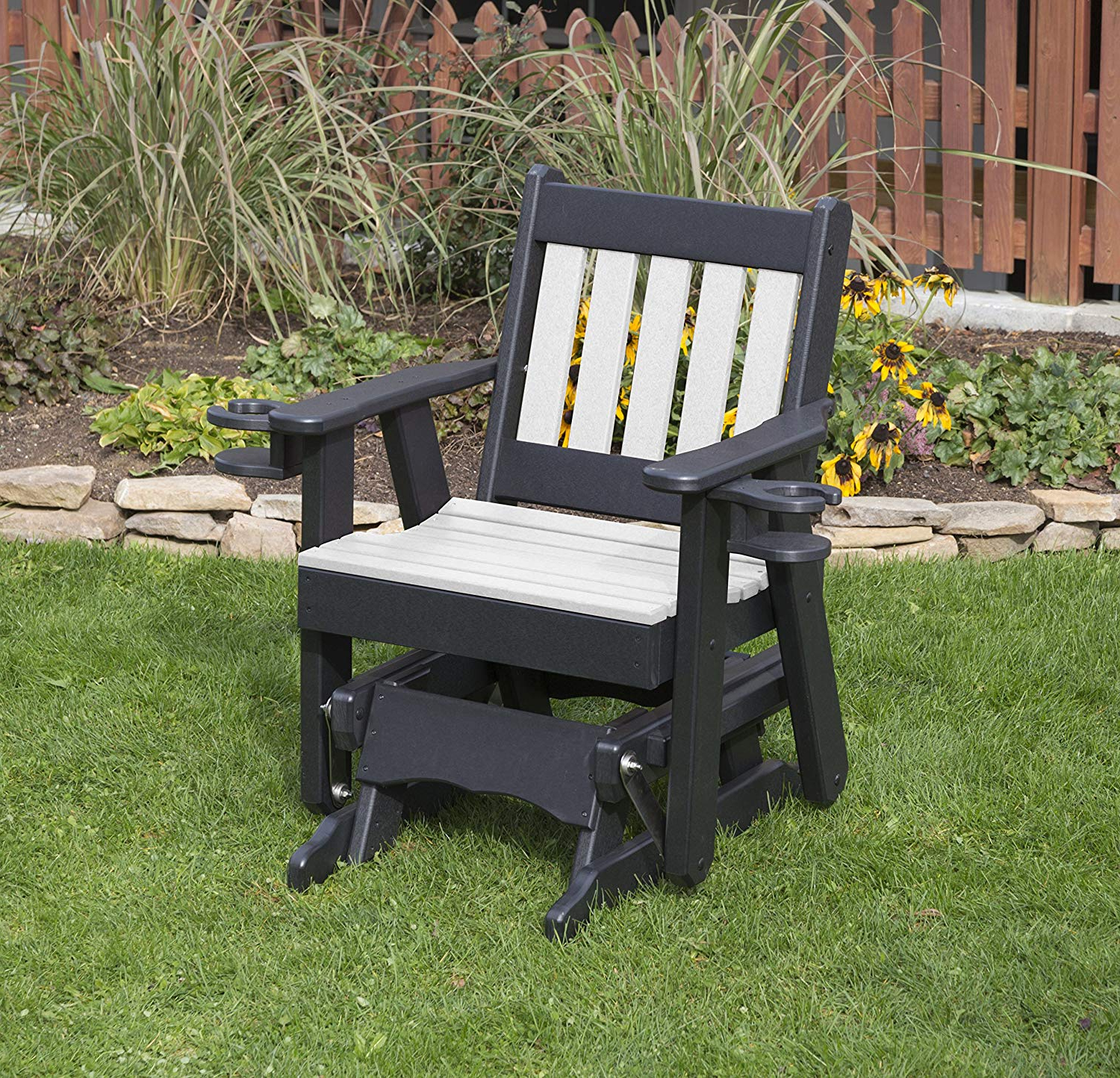 Most Popular Traditional Glider Benches For Amish Crafted Made In Usa Black Poly Lumber Mission Poly (View 15 of 30)