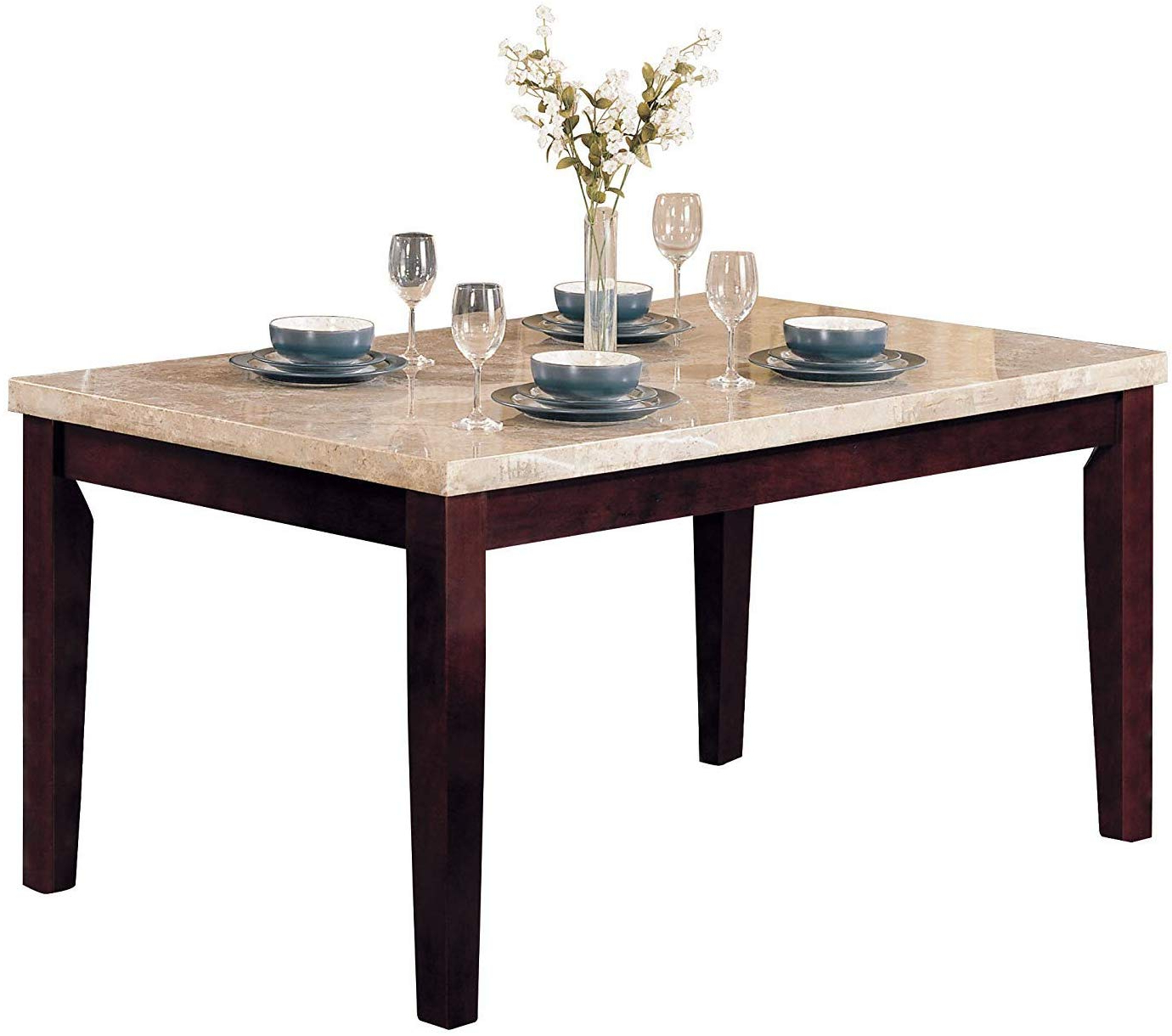 Most Popular Transitional Antique Walnut Square Casual Dining Tables Inside Acme Britney Walnut Dining Table With White Marble Top (View 6 of 30)