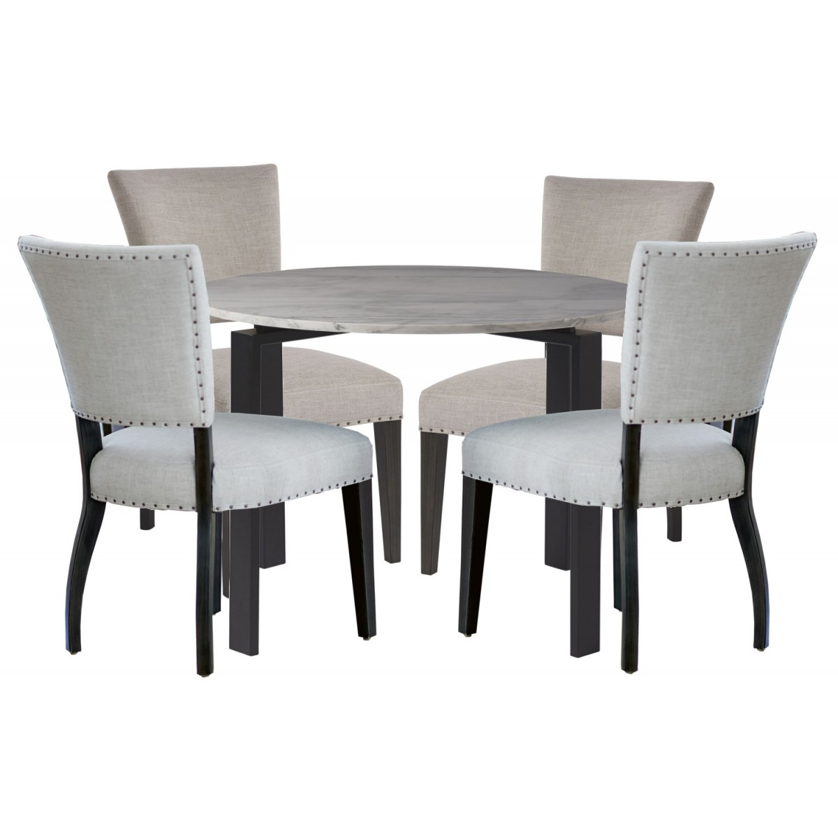 Most Popular Universal Furniture Spaces Marshall 5Pc Round Dining Table Set  White  Marble Top#732 Intended For Dining Tables With White Marble Top (Gallery 21 of 30)