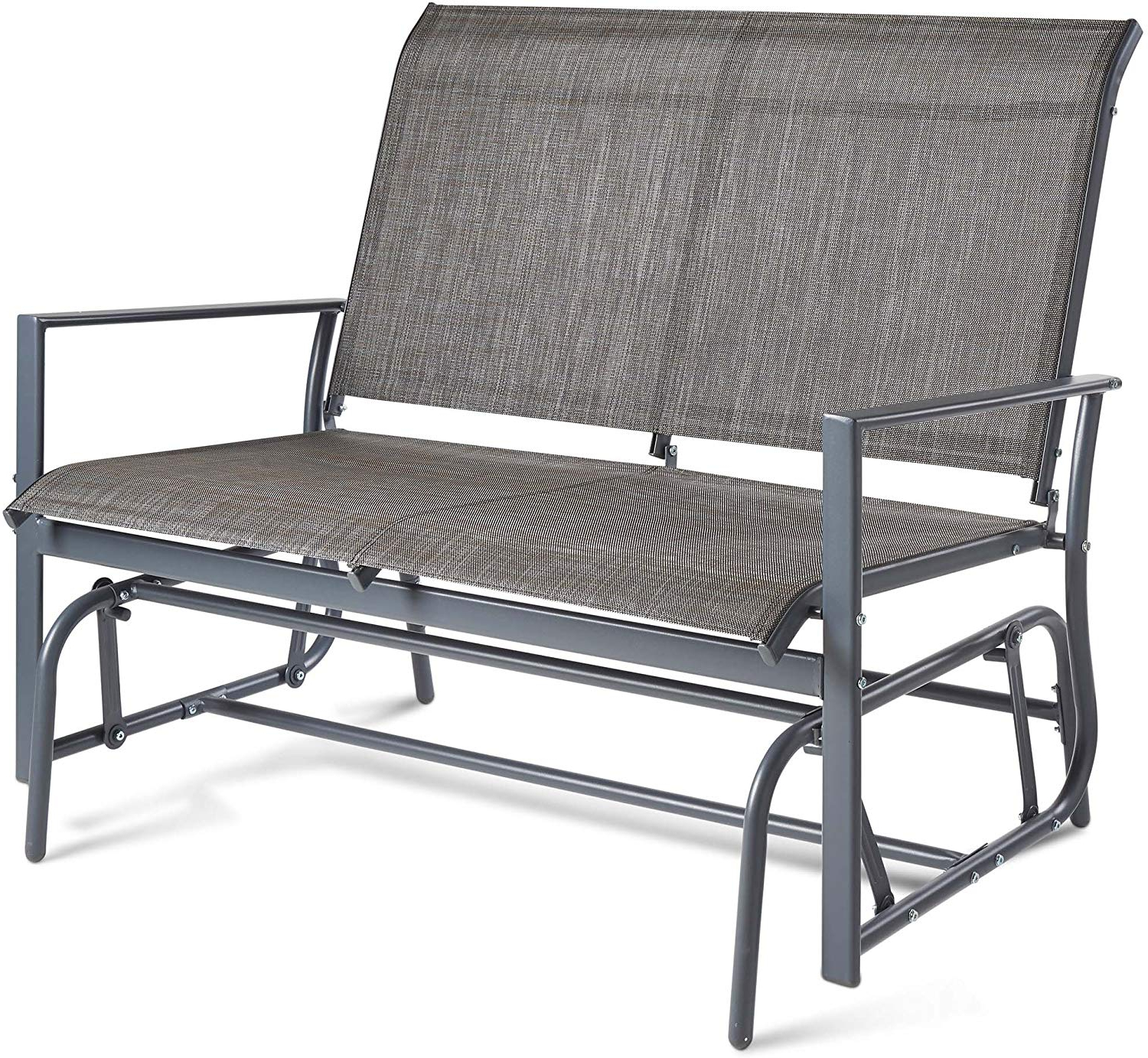 Most Popular Vonhaus 2 Seater Garden Glider Bench – Grey Textoline/mesh In Outdoor Fabric Glider Benches (View 25 of 30)