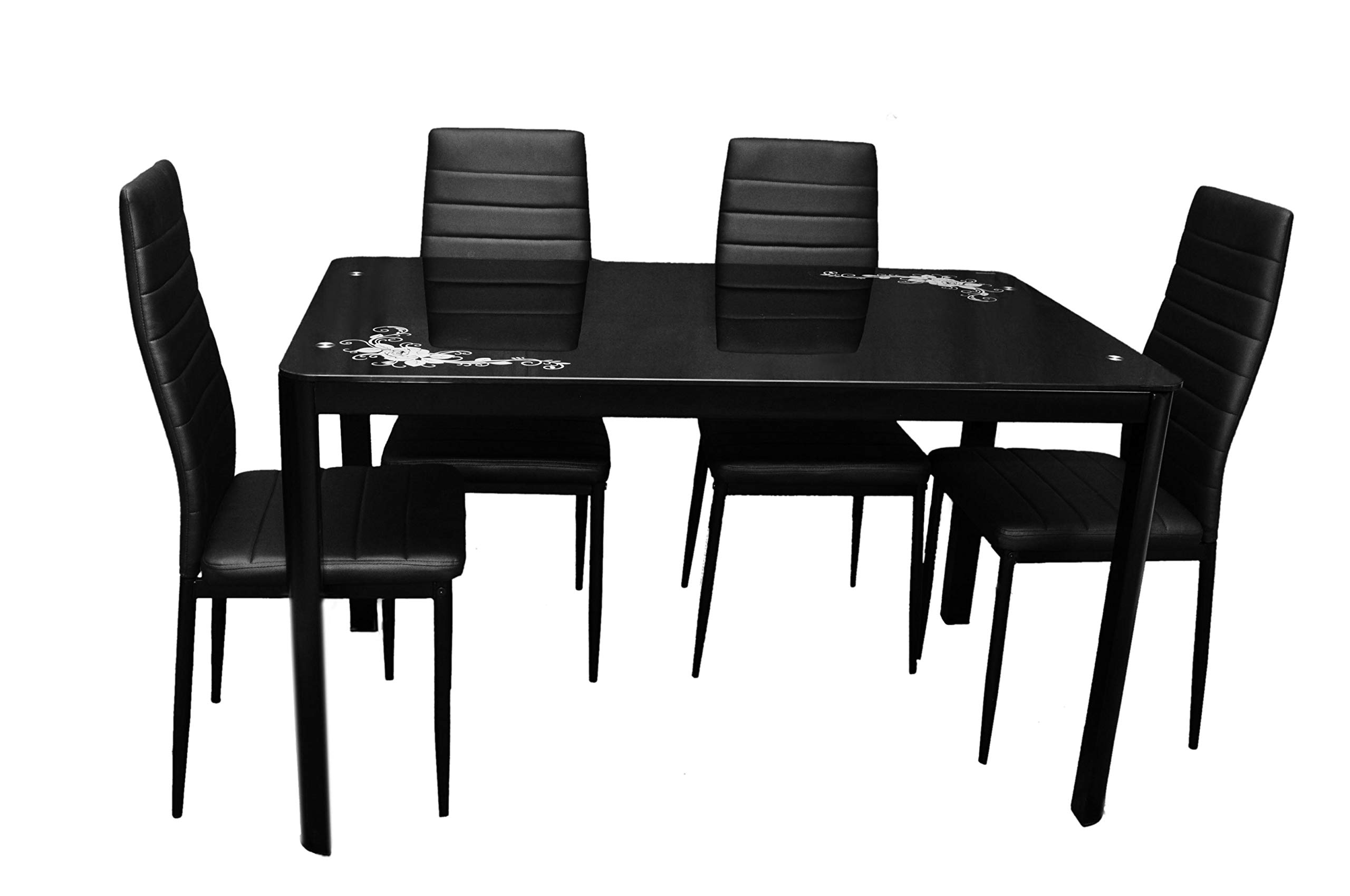Most Popular Zena Metal And Glass Dining Table Set, With 4 Chairs, Black 130 Cm X 80 Cm  X 74 Cm With Regard To Glass Dining Tables With Metal Legs (Gallery 24 of 30)