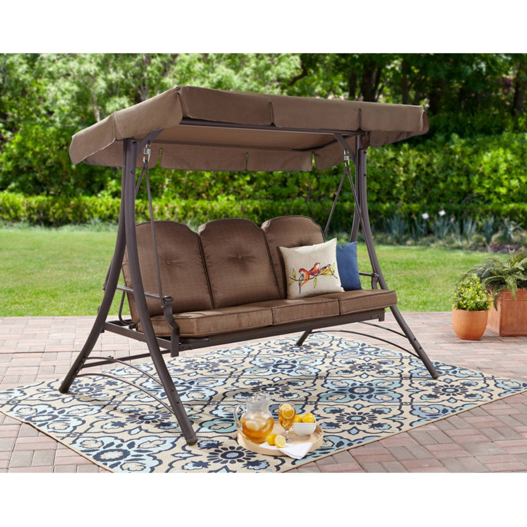 Most Recent 3 Seats Patio Canopy Swing Gliders Hammock Cushioned Steel Frame For Mainstays Wentworth 3 Person Porch Swing Frame Set With (Gallery 16 of 30)