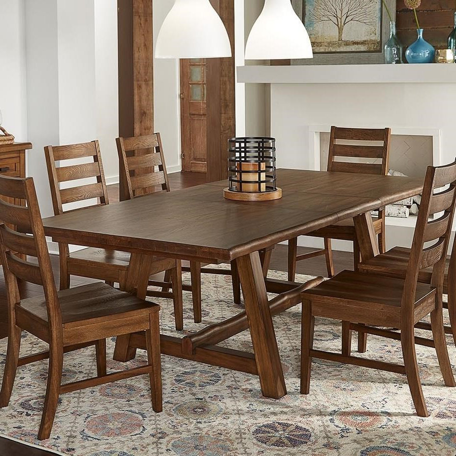 Most Recent Aamerica Mclaren Transitional Solid Wood Trestle Table With Intended For Transitional 6 Seating Casual Dining Tables (Gallery 29 of 30)