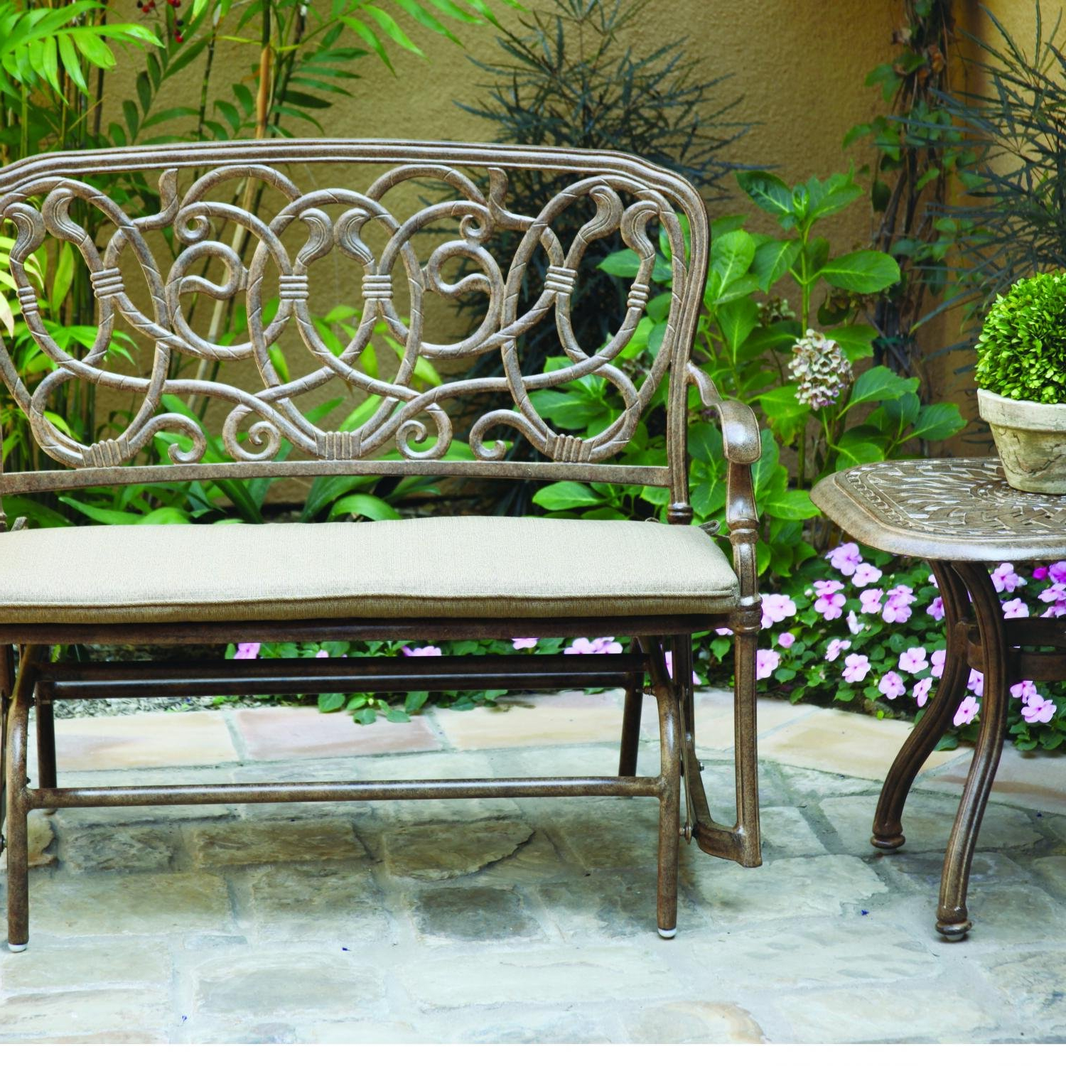 Most Recent Aluminum Glider Benches With Cushion Inside Amazon : Darlee Florence 2 Piece Cast Aluminum Patio (View 9 of 30)