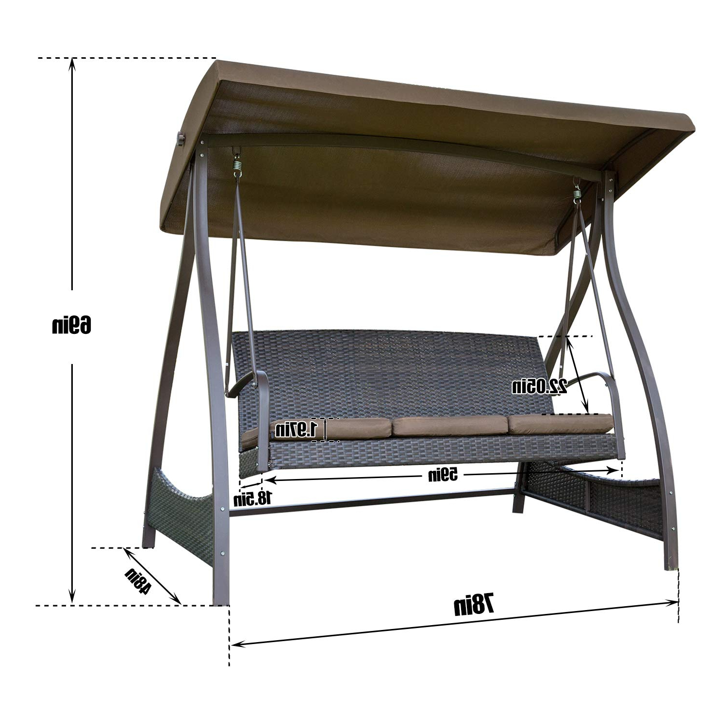 Most Recent Amazon : Sunlife Porch Swing 3 Seat Lawn Glider Hammock With Regard To 2 Person Outdoor Convertible Canopy Swing Gliders With Removable Cushions Beige (Gallery 24 of 30)