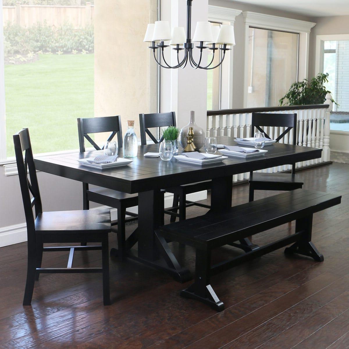 Most Recent Antique Black Wood Kitchen Dining Tables Pertaining To Antique Black Wood 6 Piece Dining Kitchen Setwalker Edison (View 19 of 30)