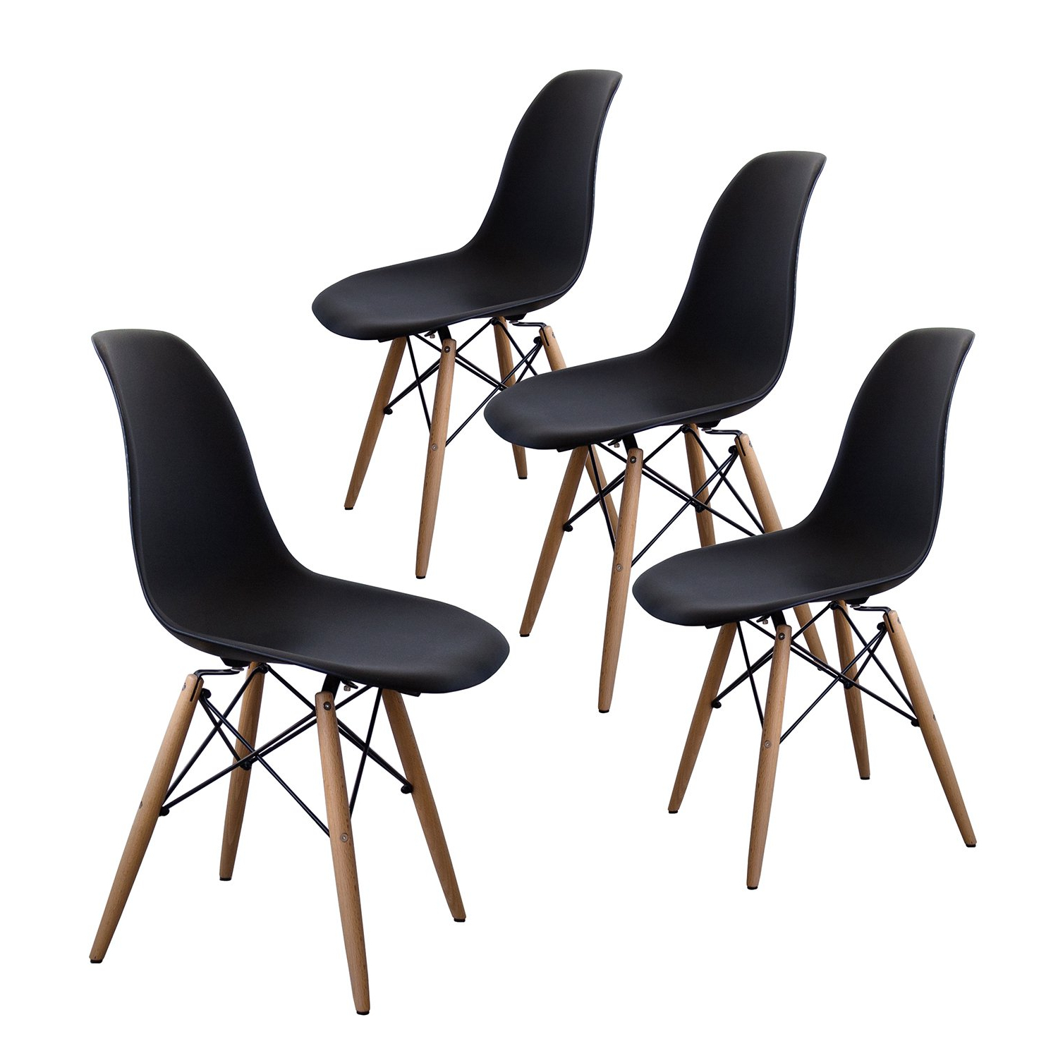 Most Recent Buschman Set Of Four Black Eames Style Mid Century Modern Dining Room  Wooden Legs Chairs Intended For Eames Style Dining Tables With Wooden Legs (Gallery 15 of 30)