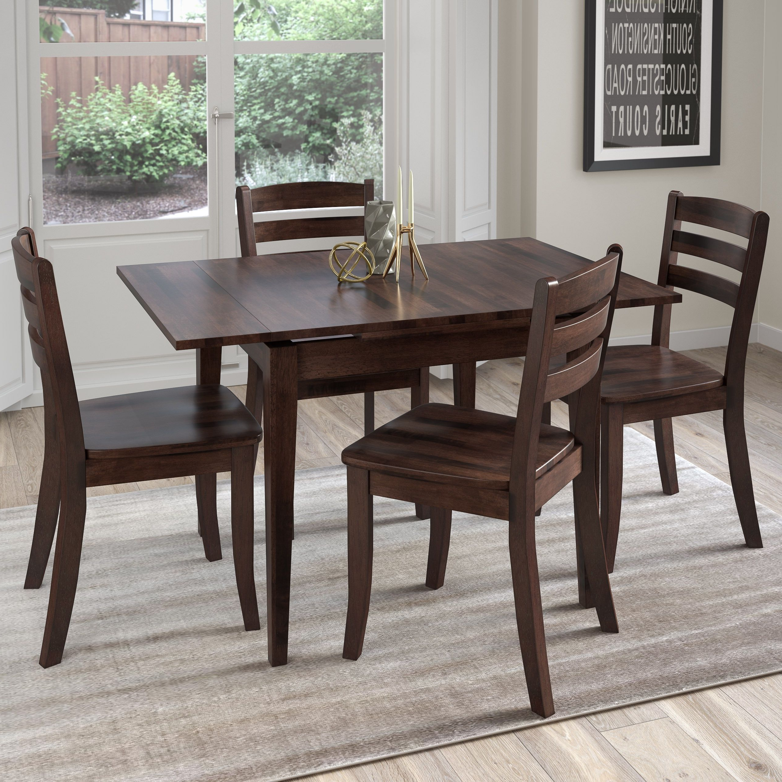 Most Recent Cappuccino Finish Wood Classic Casual Dining Tables With Corliving Dillon 5 Piece Cappuccino Stained Solid Wood (View 20 of 30)