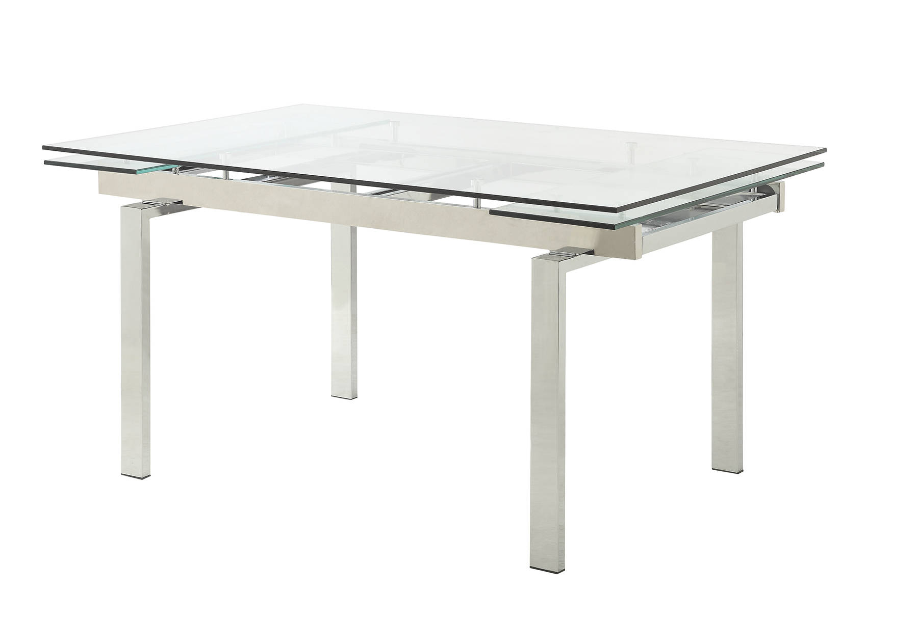 Most Recent Chrome Dining Tables With Tempered Glass Regarding Wexford Contemporary Chrome Tempered Glass Leaf Extension (View 27 of 30)