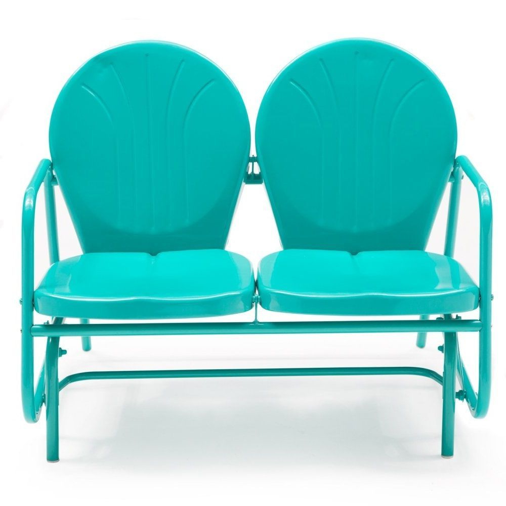Most Recent Details About Outdoor Loveseat Glider Vintage Retro Patio Throughout Metal Retro Glider Benches (Gallery 4 of 30)