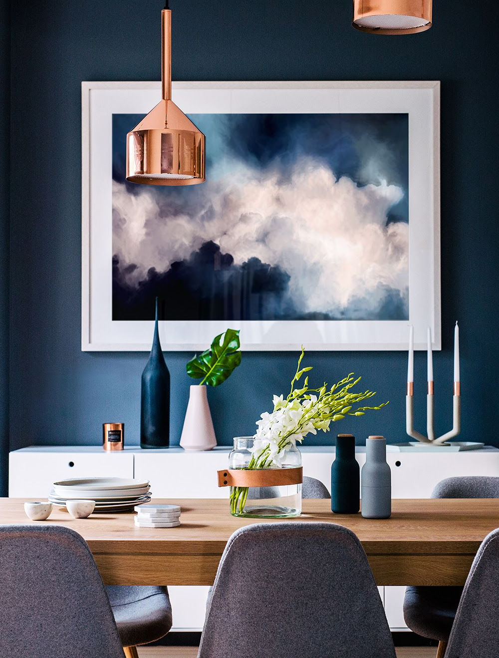 Most Recent Dining Room With Deep Blue Wall And An Interesting Mix Of Within Artefac Contemporary Casual Dining Tables (Gallery 12 of 30)