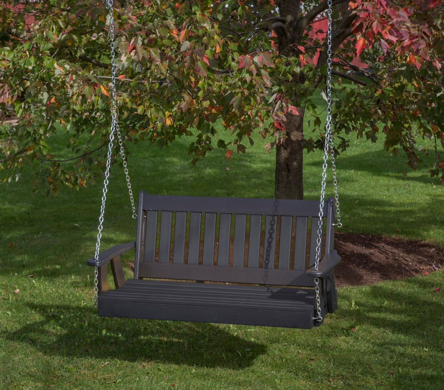 Most Recent Ecommersify Inc 5ft Black Poly Lumber Mission Porch Swing Heavy Duty Everlasting Polytuf Hdpe – Made In Usa – Amish Crafted With Vineyard 2 Person Black Recycled Plastic Outdoor Swings (View 5 of 30)