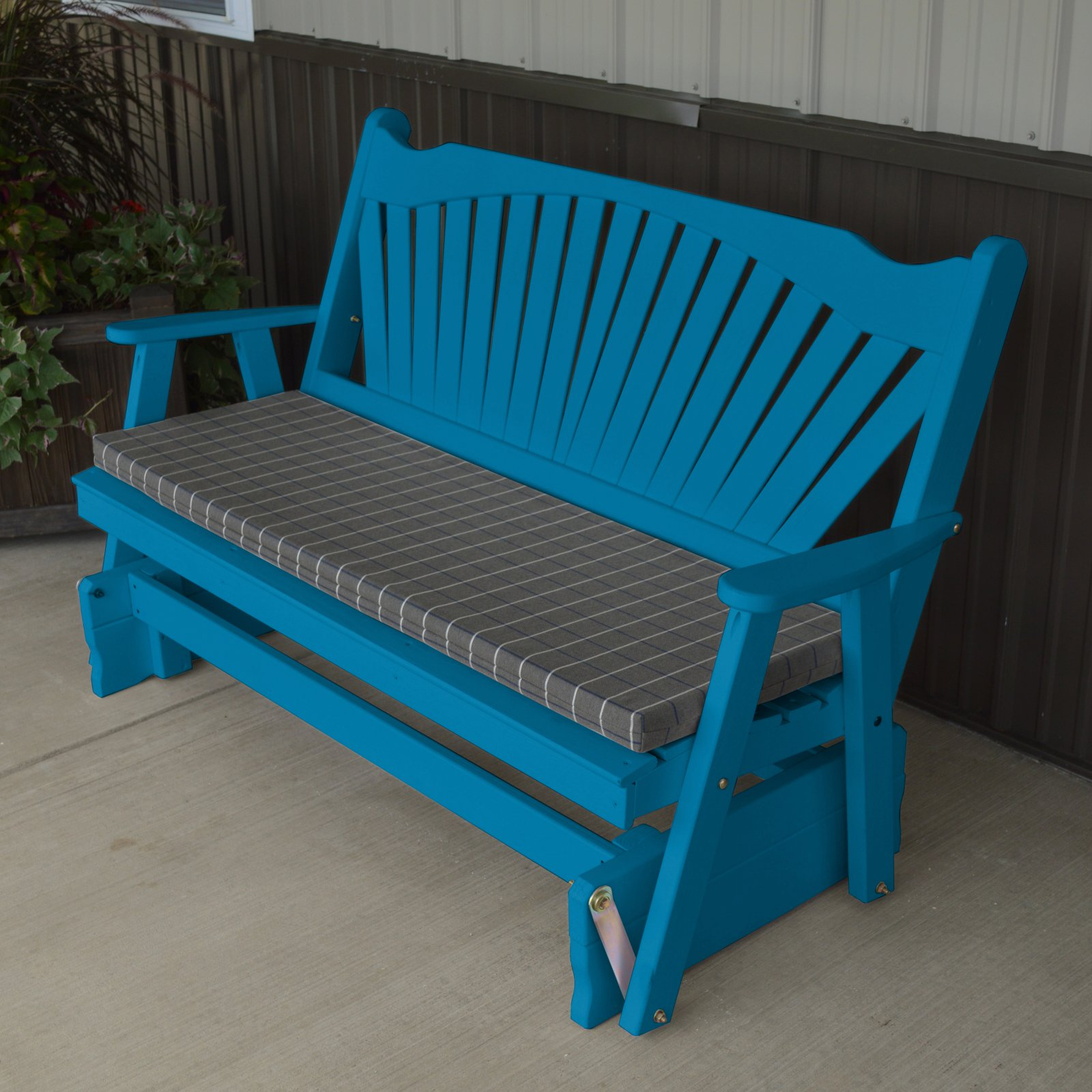 Most Recent Fanback Glider Benches For A & L Furniture Yellow Pine Fanback Outdoor Bench Glider (Gallery 4 of 30)