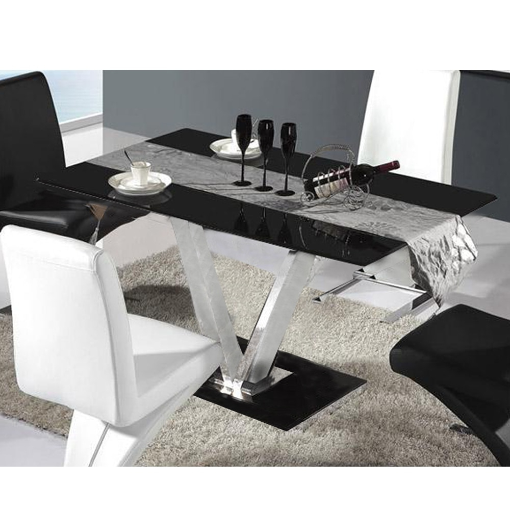 Most Recent Glass Dining Tables With Metal Legs Regarding Glass Dining Table For 6 Seater V Shape Table Metal Leg (View 14 of 30)