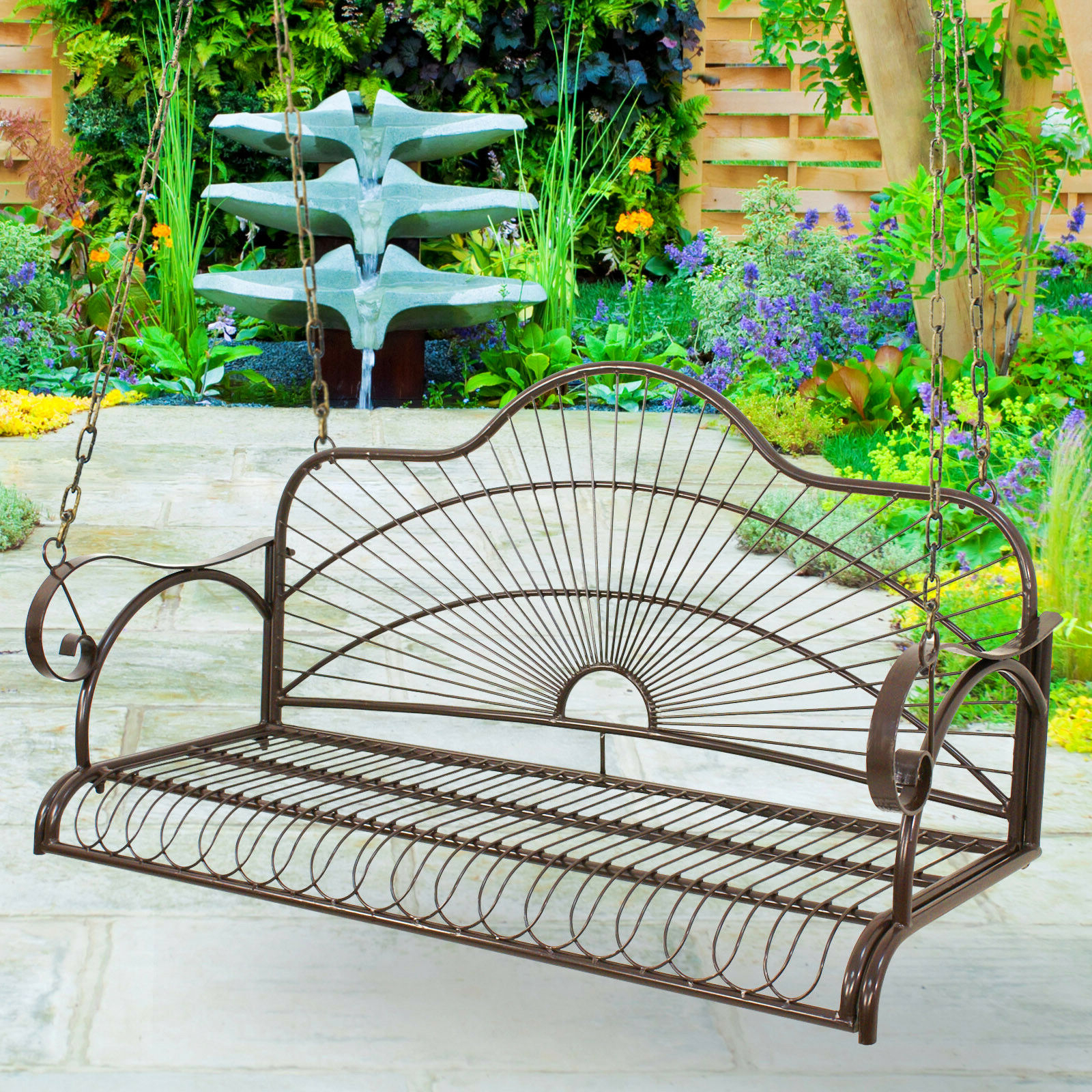 Most Recent Hanging Iron Metal Porch Swing Chair Bench Backyard Garden For 2 Person Gray Steel Outdoor Swings (Gallery 25 of 30)