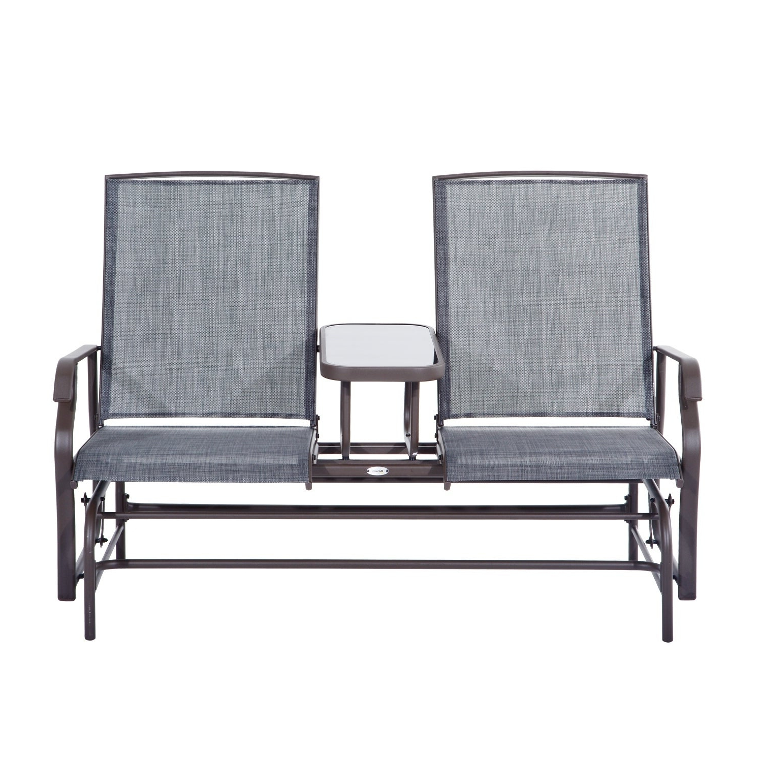 Most Recent Iron Double Patio Glider Benches Pertaining To Outsunny Two Person Outdoor Mesh Fabric Patio Double Glider Chair With  Center Table (Gallery 13 of 30)