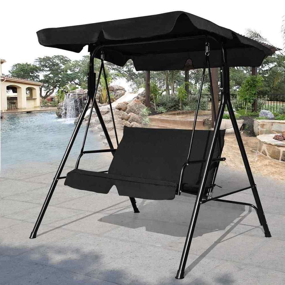 Most Recent Loveseat Patio Canopy Swing Glider Hammock Cushioned Steel Within Patio Loveseat Canopy Hammock Porch Swings With Stand (Gallery 5 of 30)