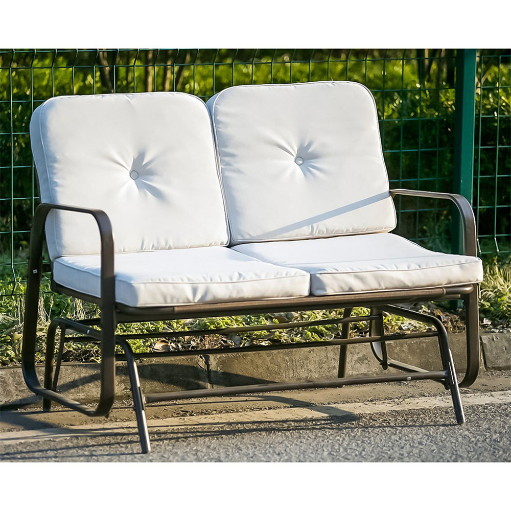 Most Recent Merax Patio Outdoor Bench Loveseat Glider Rocking Chair Regarding Loveseat Glider Benches With Cushions (Gallery 12 of 30)