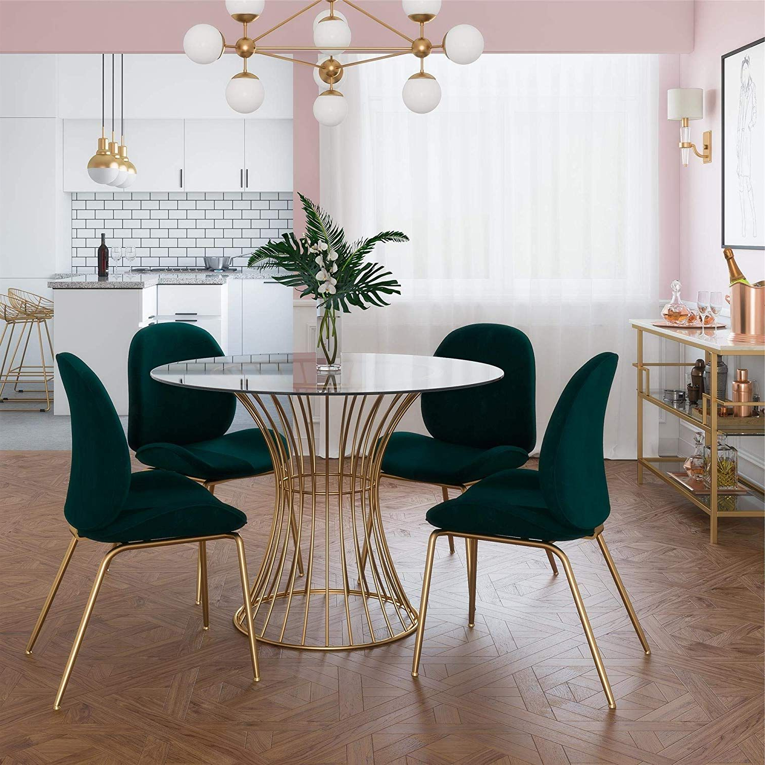 Most Recent Modern Gold Dining Tables With Clear Glass Inside Amazon – Cosmoliving Westwood Modern Clear Tempered (View 22 of 30)