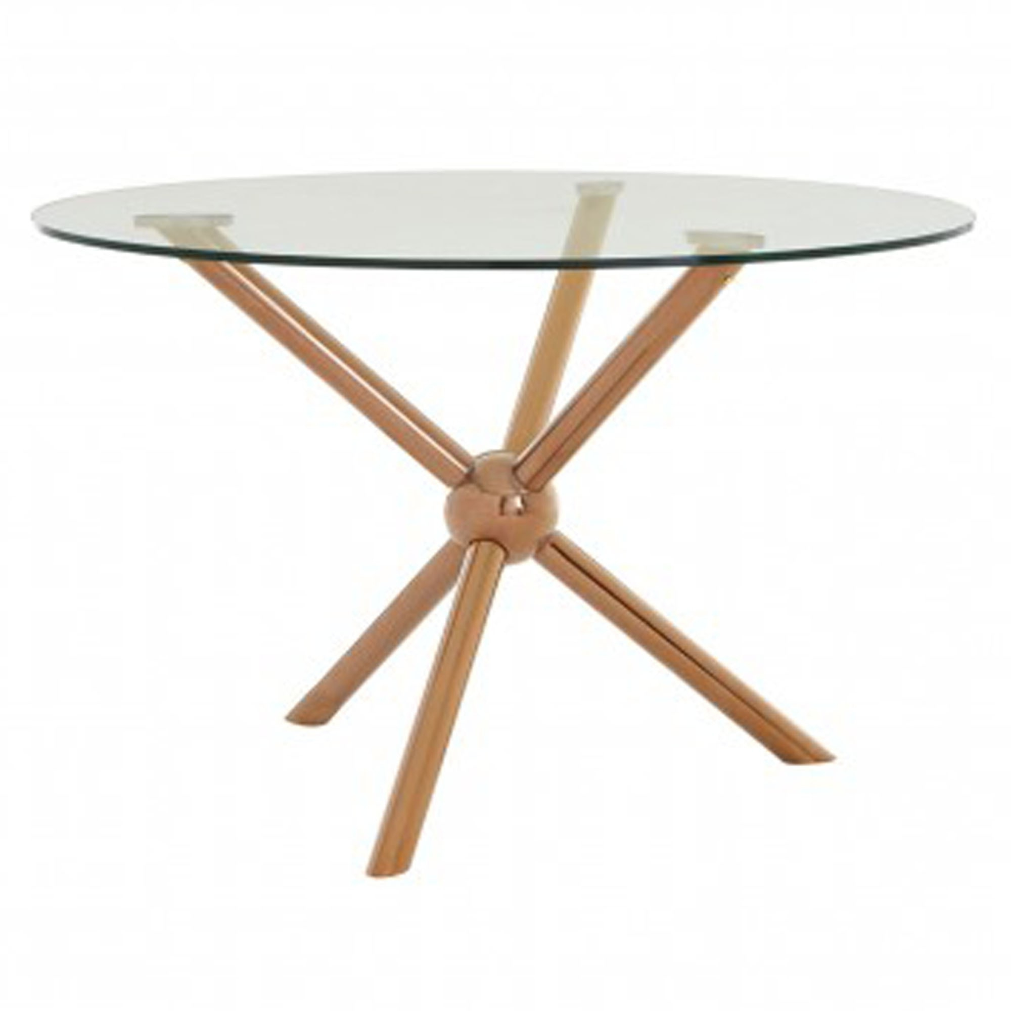 Most Recent Modern Gold Dining Tables With Clear Glass Throughout Novo Round / Rose Gold Dining Table (Gallery 15 of 30)