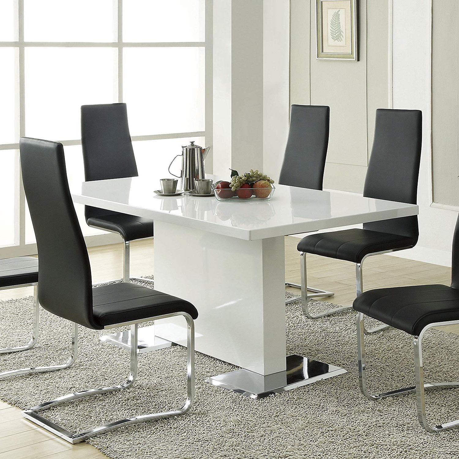 Most Recent Nameth Dining Table With Metal Base Glossy White With Regard To Modern Dining Tables (View 12 of 30)