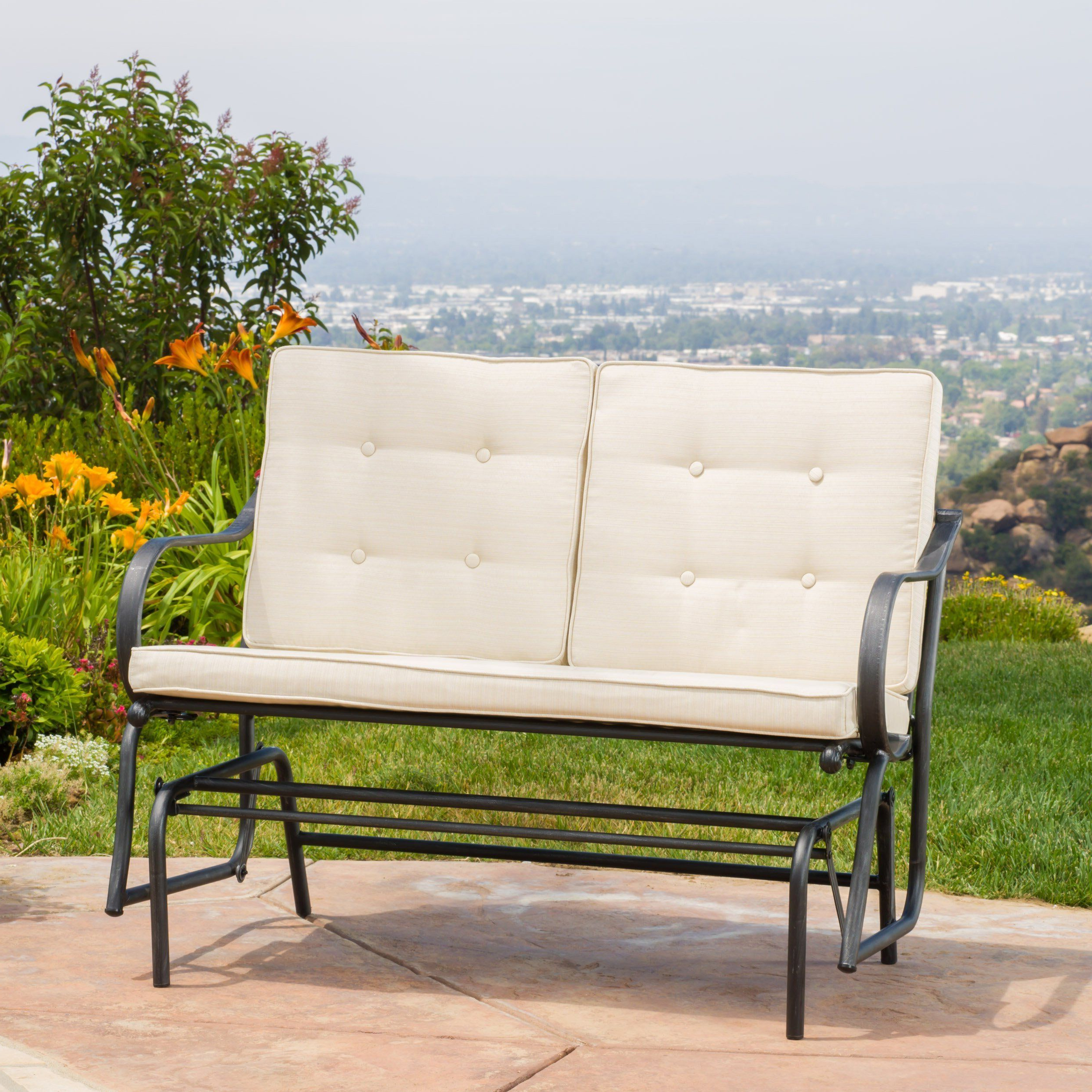 Most Recent Outdoor Patio Metal Rocker Glider Bench With Beige Cushions With Regard To Rocking Glider Benches With Cushions (Gallery 1 of 30)