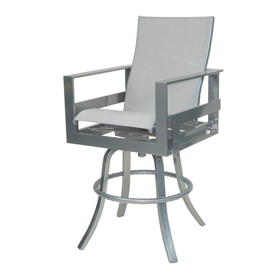 Most Recent Padded Sling High Back Swivel Chairs Intended For Eclipse High Back Sling Swivel Bar Stool – Castelle (View 23 of 30)