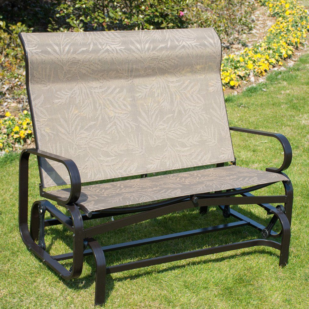 Most Recent Patiopost Glider Bench Outdoor 2 Person Loveseat Chair Patio Pertaining To Outdoor Patio Swing Porch Rocker Glider Benches Loveseat Garden Seat Steel (Gallery 19 of 30)