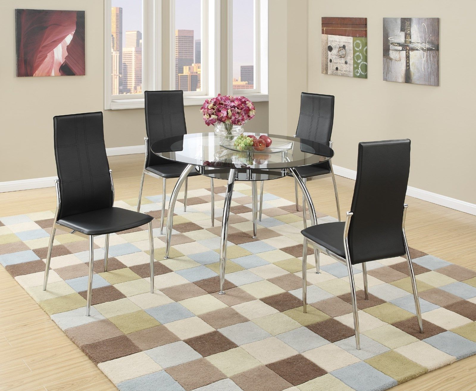 Most Recent Round Dining Tables With Glass Top With Regard To Details About New Tulsa Ii Modern Round Black Chrome Metal Glass Top Dining  Table Kitchen Set (Gallery 17 of 30)