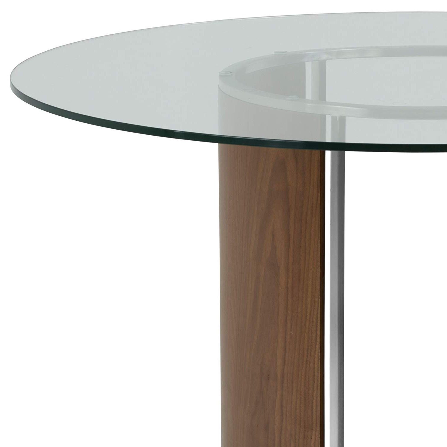 Most Recent Round Glass Top Dining Tables Pertaining To Armen Living Delano Dining Table With Clear Glass Top, Walnut Wood And  Brushed Stainless Steel Finish (Gallery 16 of 30)