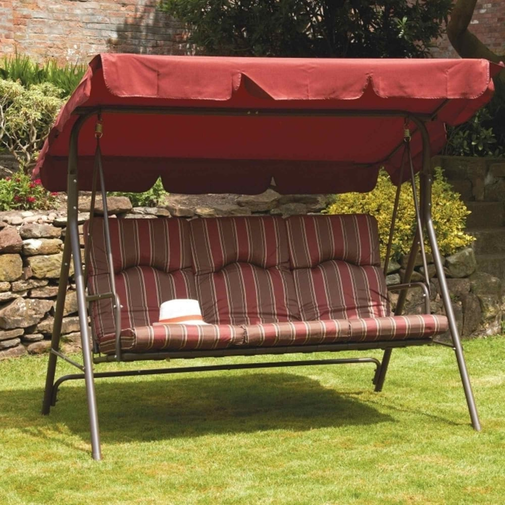 Most Recent Royalcraft Amalfi Padded 3 Seater Swing Seat With Canopy With Regard To 3 Seater Swings With Frame And Canopy (View 7 of 30)