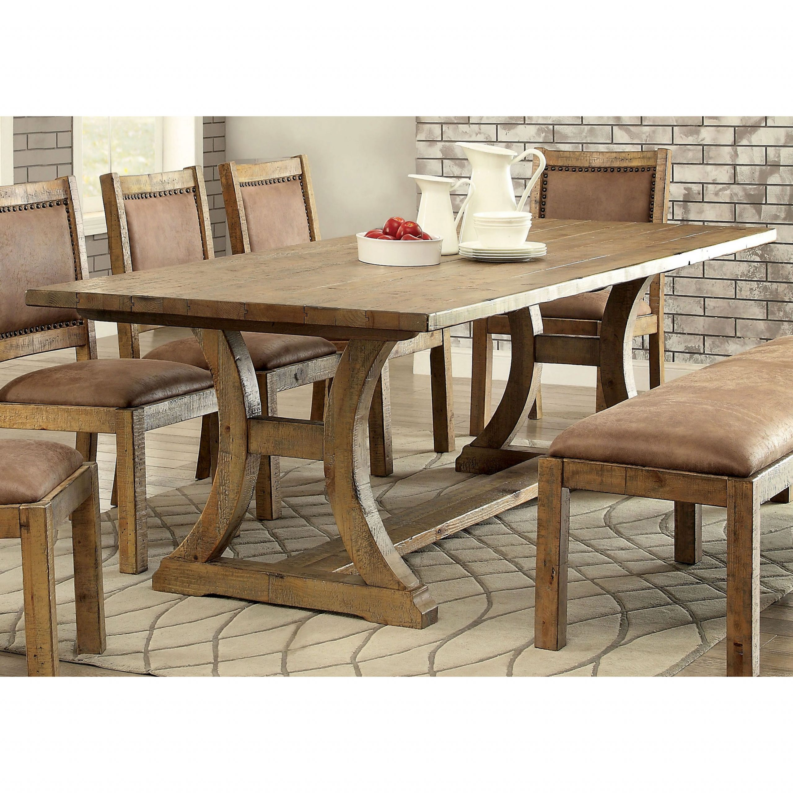 Most Recent Small Dining Tables With Rustic Pine Ash Brown Finish Intended For Furniture Of America Matthias Industrial Rustic Pine Dining (View 3 of 30)