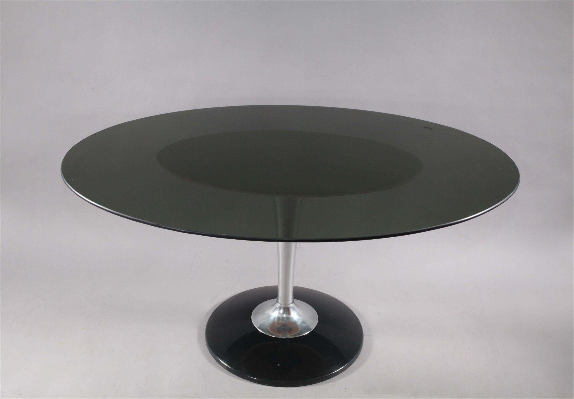 Most Recent Smoked Oval Glasstop Dining Tables Intended For Chromcraft Smoke Lucite Dining Set: Six Swiveling Tulip (Gallery 10 of 30)