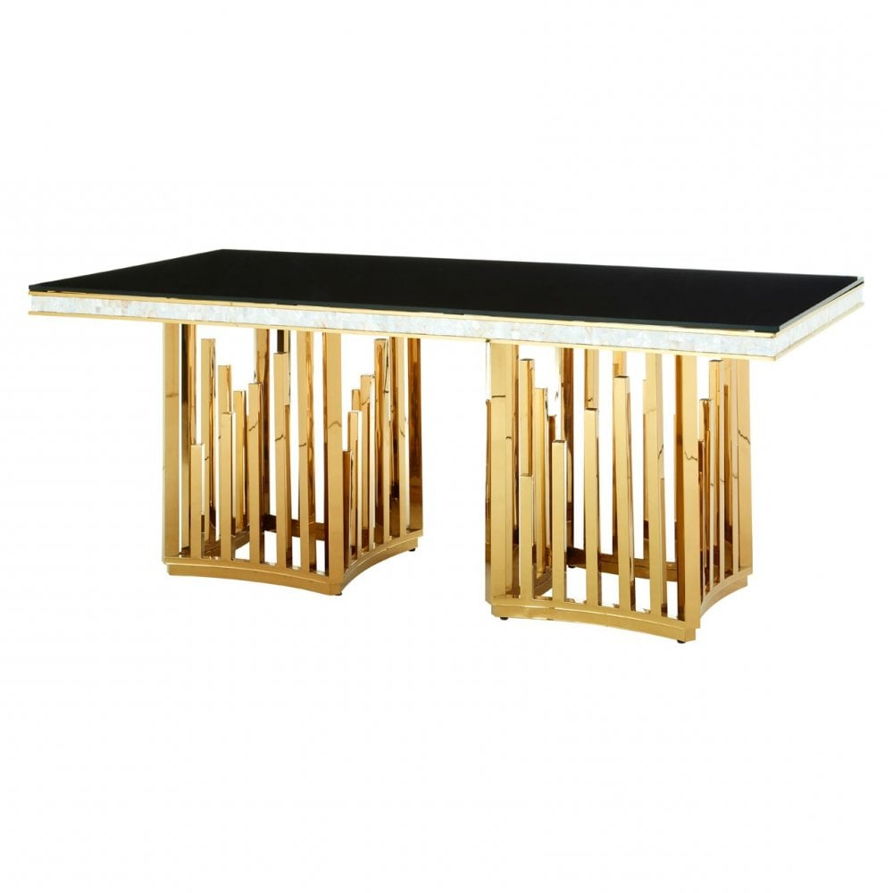 Most Recent Steel And Glass Rectangle Dining Tables For Clanbay Eliza Gold Finish Dining Table, Stainless Steel, Glass, Gold (Gallery 18 of 30)