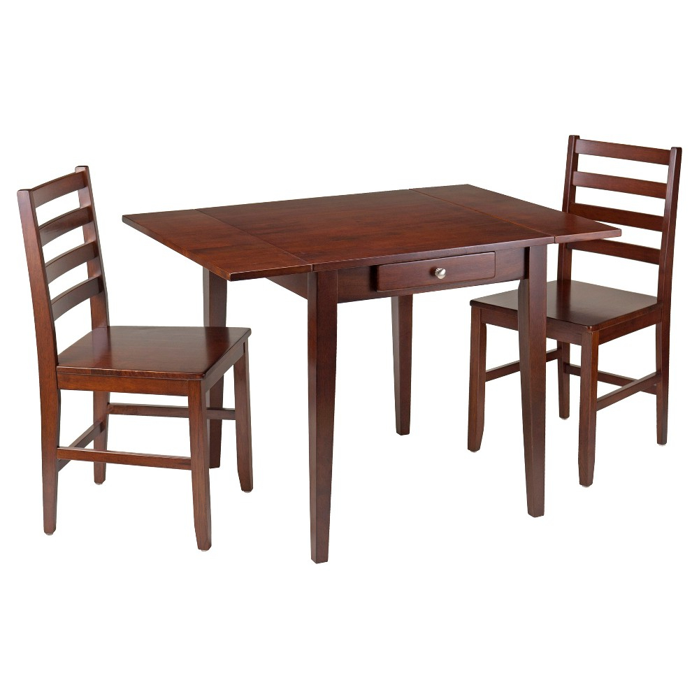 Most Recent Transitional 4 Seating Drop Leaf Casual Dining Tables In 3 Piece Hamilton Set Drop Leaf Table With Ladder Back Chairs (Gallery 7 of 30)