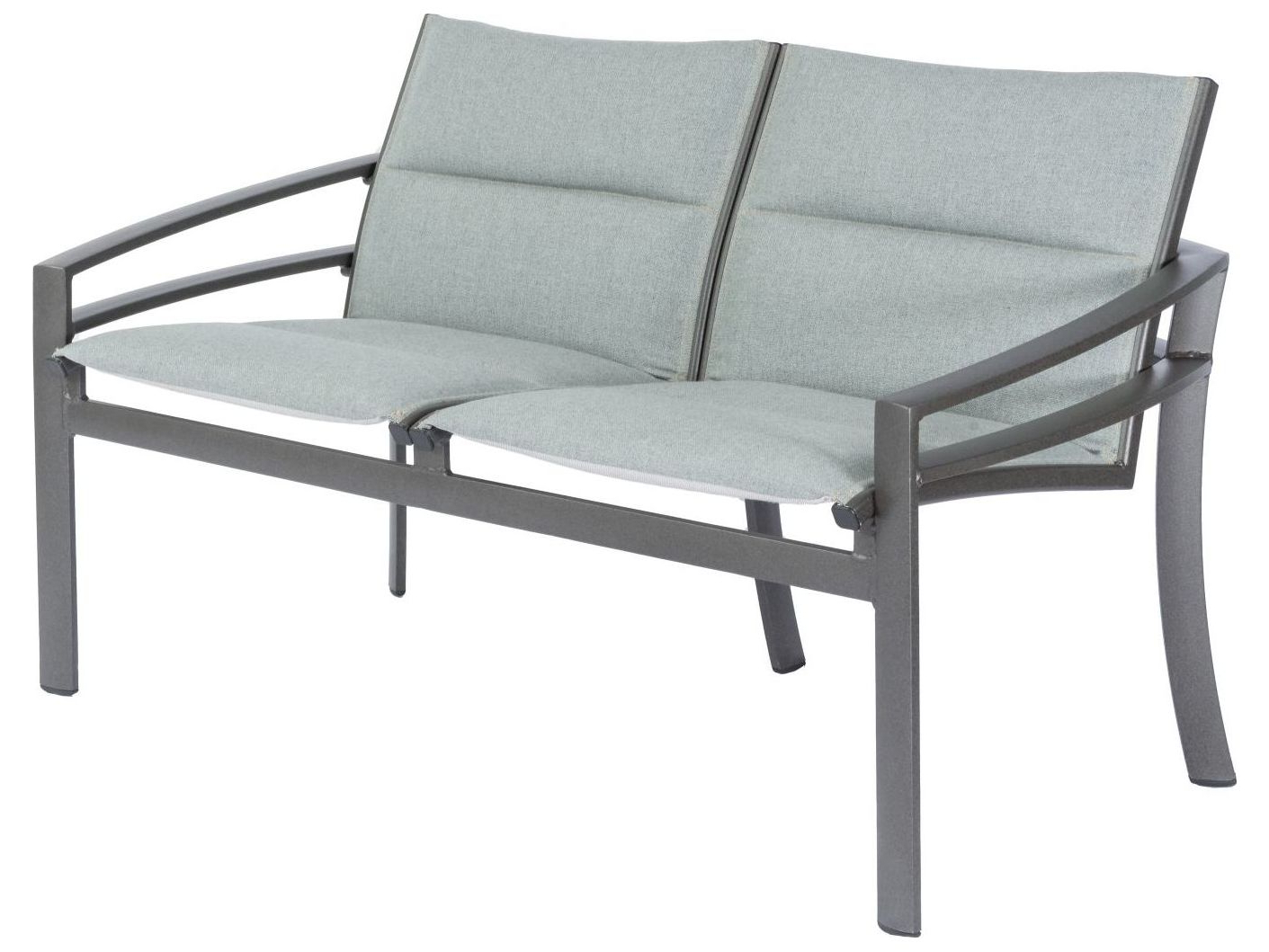 Most Recent Tropitone Kor Padded Sling Aluminum Loveseat With Regard To Padded Sling Double Glider Benches (Gallery 27 of 30)