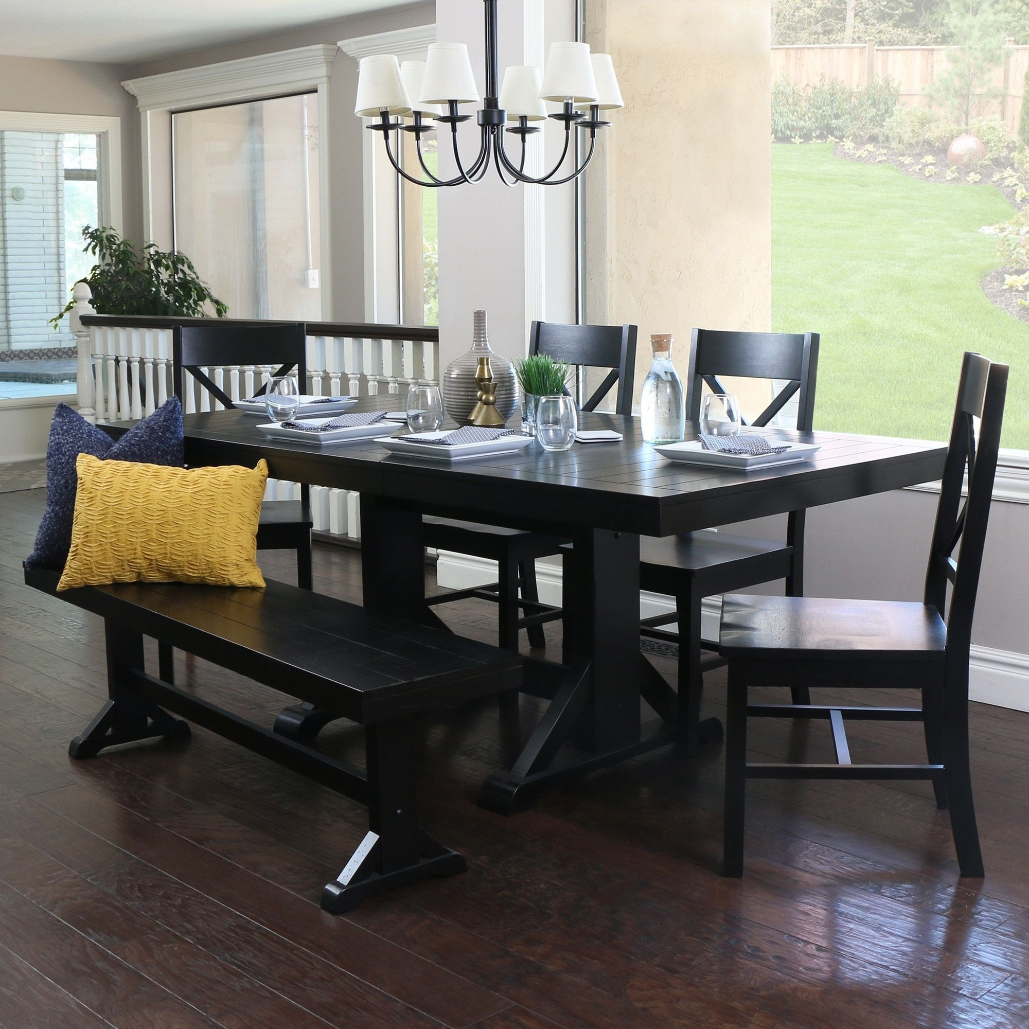 Most Recent Walker Edison Countryside Chic 6 Piece Antique Black Wood Regarding Antique Black Wood Kitchen Dining Tables (Gallery 5 of 30)