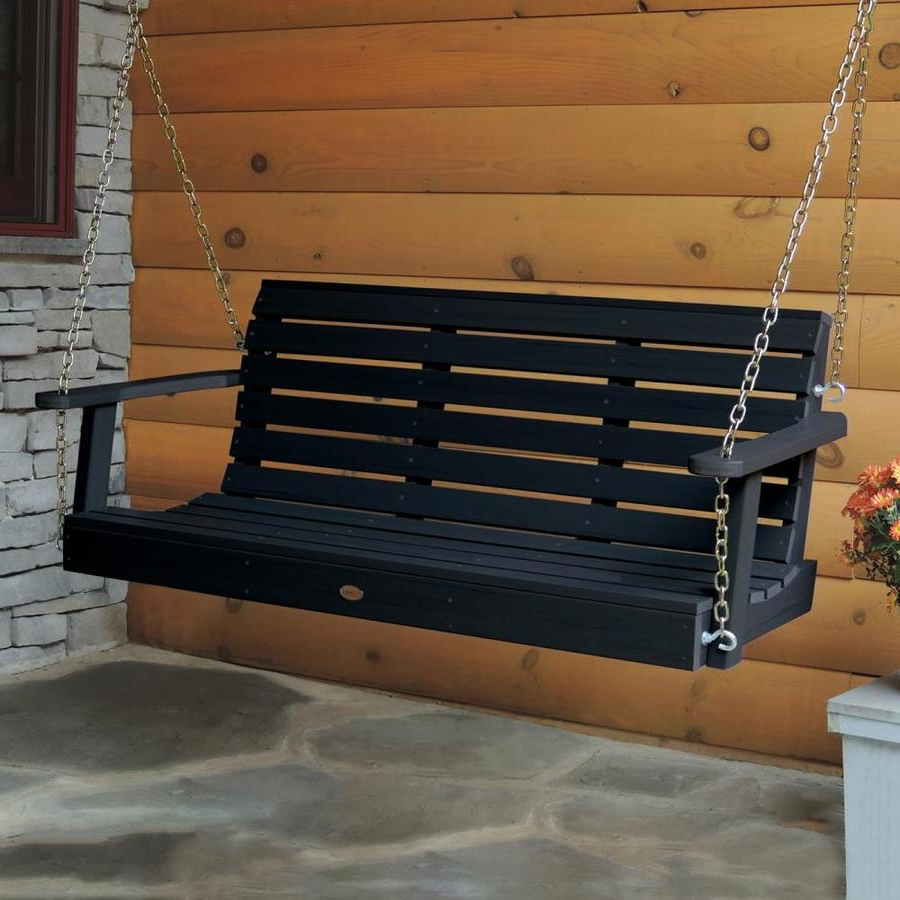 Most Recently Released 2 Person Black Wood Outdoor Swings In Highwood Weatherly 2 Person Black Plastic Outdoor Swing At (Gallery 8 of 30)