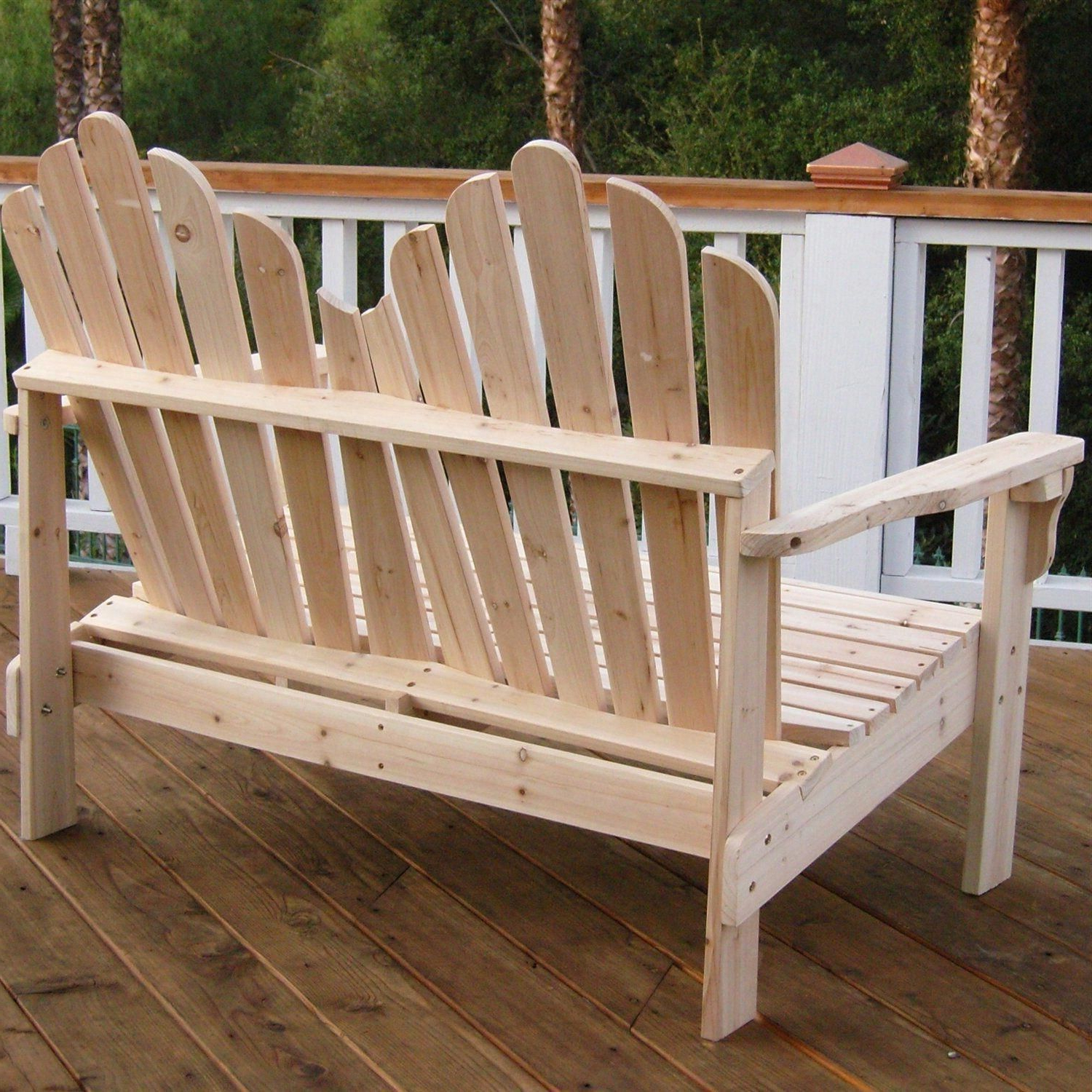 Most Recently Released 2 Person Natural Cedar Wood Outdoor Gliders With Regard To This 2 Seat Adirondack Style Outdoor Cedar Wood Garden Bench (View 12 of 30)