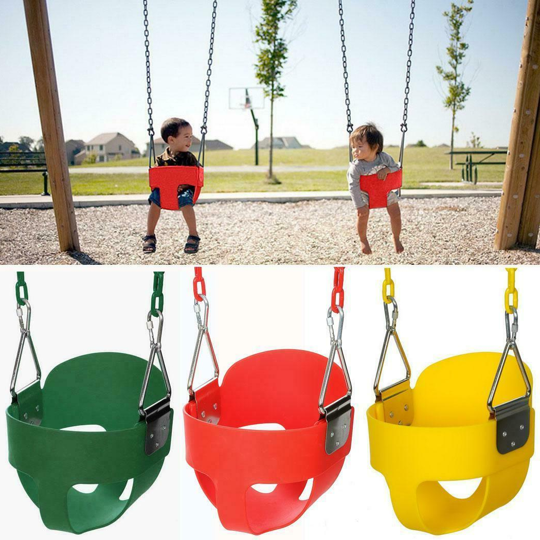 Most Recently Released 3 Person Red With Brown Powder Coated Frame Steel Outdoor Swings Within Baby Full Bucket Swing With Chain Kids Hanging Swing Seat Toddler Set Outdoor Us (View 8 of 30)