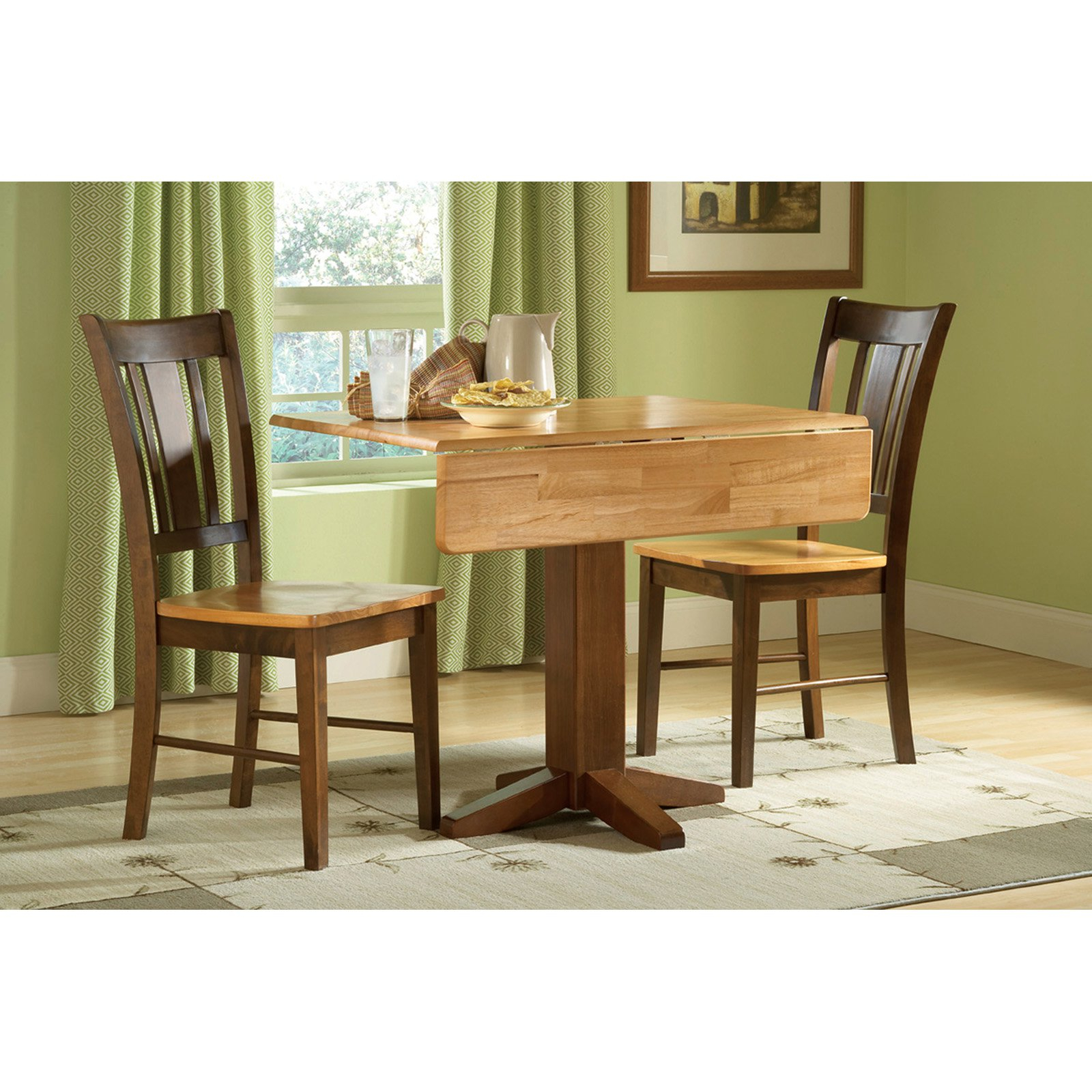 Most Recently Released 3 Pieces Dining Tables And Chair Set Intended For International Concepts Square Dual Drop Leaf 3 Piece Dining (Gallery 26 of 30)