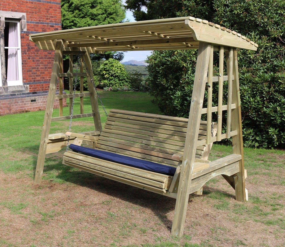 Most Recently Released 3 Seat Pergola Swings Pertaining To Churnet Valley Antoinette 3 Seater Swing (Gallery 10 of 30)