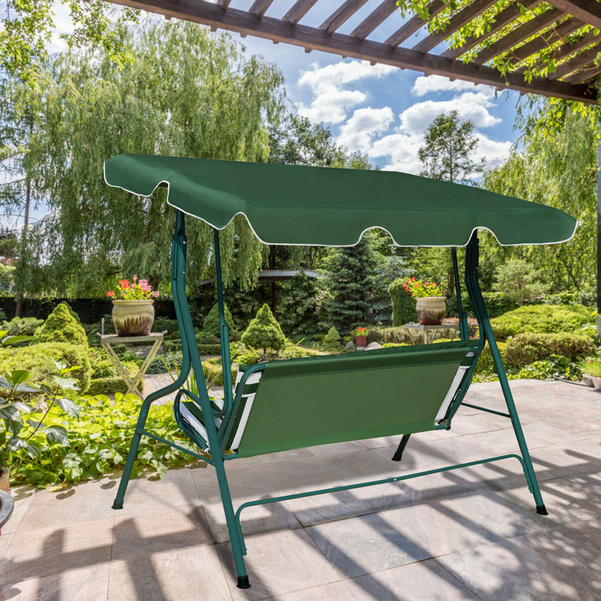 Most Recently Released 3 Seats Patio Canopy Swing Gliders Hammock Cushioned Steel Frame Within Costway 3 Seats Patio Canopy Swing Glider Hammock Cushioned Steel Frame  Backyar Green (View 21 of 30)