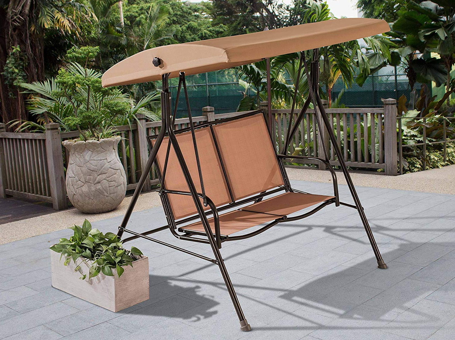 Most Recently Released Amazon : Sunjoy Sunrise Steel Swing With Canopy : Garden With 2 Person Outdoor Convertible Canopy Swing Gliders With Removable Cushions Beige (Gallery 28 of 30)