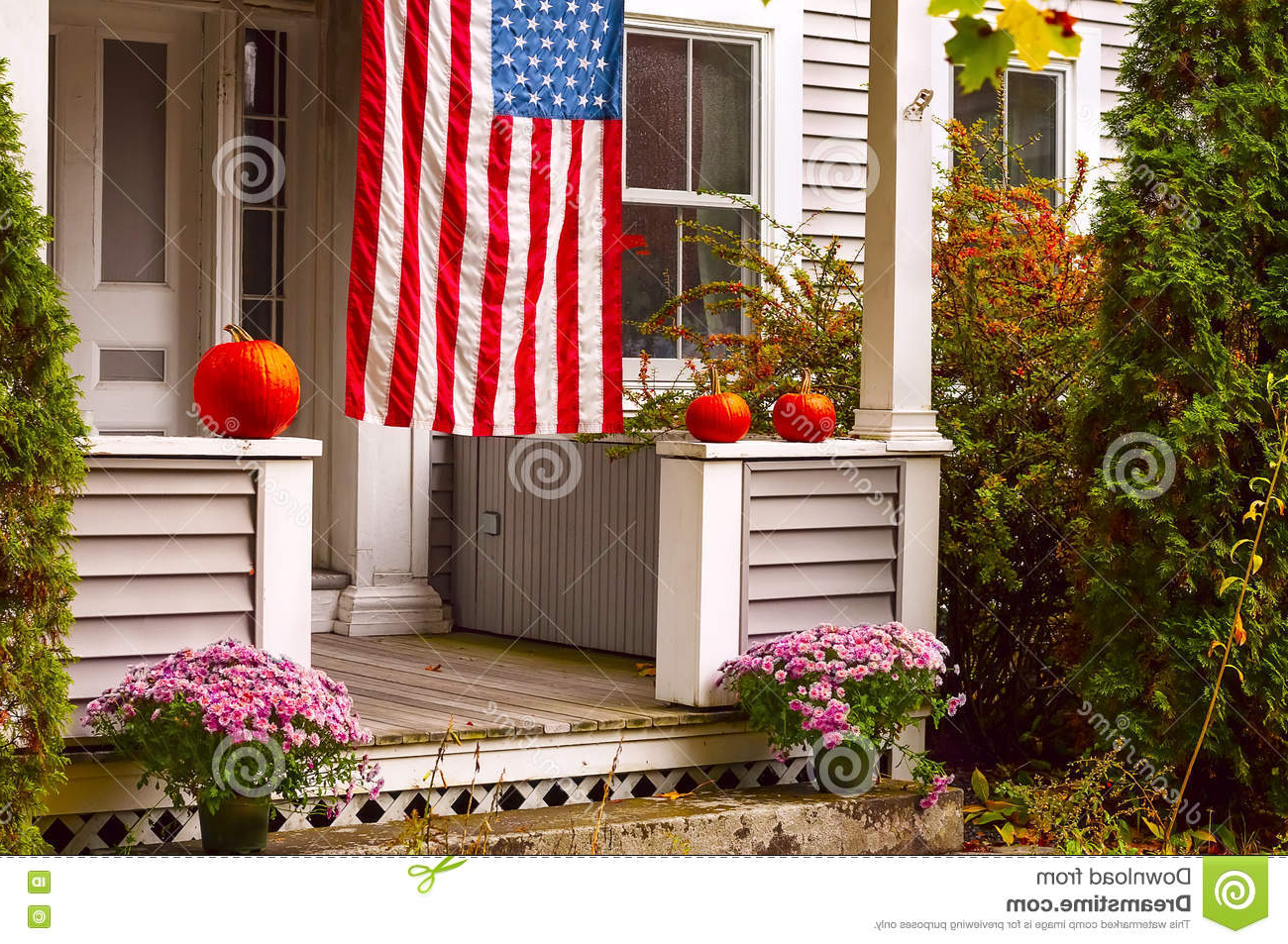 Most Recently Released American Flag Porch Swings Intended For Porch Of A Wooden House Decorated For Halloween And The (View 18 of 30)