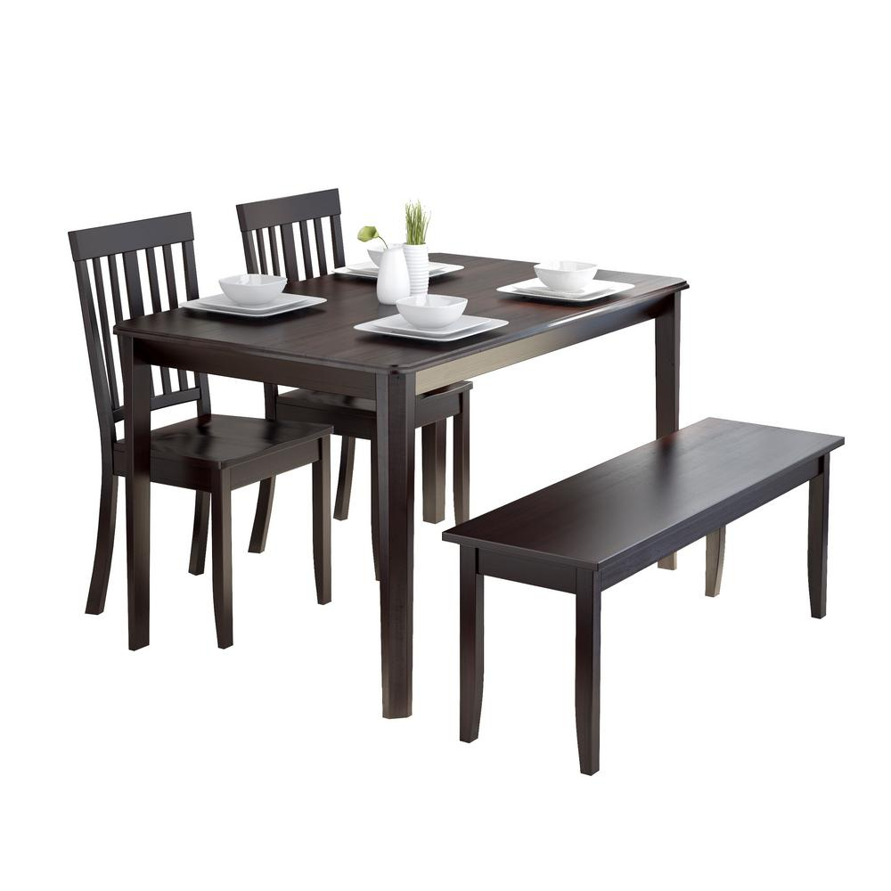 Most Recently Released Atwood Transitional Square Dining Tables Pertaining To Corliving Atwood 4 Piece Dining Set With Cappuccino Stained (View 13 of 30)